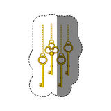 sticker pattern with vintage golden keys hanging on chains Royalty Free Stock Photography