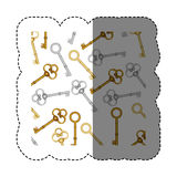 sticker pattern with vintage keys of gold and silver Stock Images
