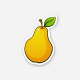 Sticker pear with stem Stock Photography