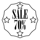 Sticker 70 percent off icon, outline style Stock Image