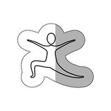 Sticker person practicing dancing. Icon,  illustraction design image Stock Image