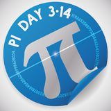 Sticker with Pi Symbol and Value for Pi Day Celebration, Vector Illustration. Blue sticker with silver pi symbol and numeric value around it to celebrate Pi Day royalty free illustration