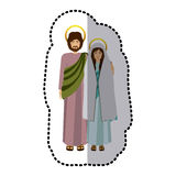 Sticker picture colorful virgin mary and saint joseph embraced Royalty Free Stock Photo