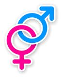 Sticker of pink and blue female and male sex symbol. With shadow Royalty Free Stock Images