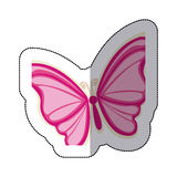Sticker with a pink butterfly. Illustration Stock Images