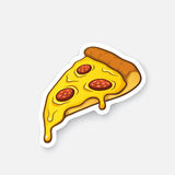 Sticker pizza slice. Vector illustration. Pizza slice with melted cheese and pepperoni. Cartoon sticker in comic style with contour. Decoration for greeting Stock Photos