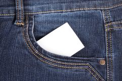 Sticker in pocket jeans Stock Photo