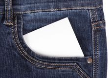 Sticker in pocket jeans Stock Images