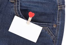 Sticker in pocket jeans Stock Photography