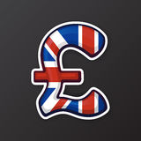 Sticker pound sign in national flag colors Stock Photo