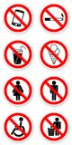 Sticker of prohibited symbols. With light shadow Stock Image