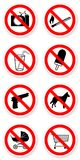Sticker of prohibited symbols. With light shadow Stock Photo