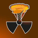 Sticker Radiation sign with a nuclear explosion. Vector illustration. Black radiation sign with an orange gleam in the upper part of which is a nuclear mushroom Royalty Free Stock Photo