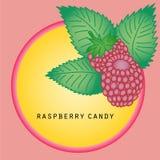 Sticker with raspberry Stock Photos