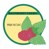 Sticker with raspberry. Natural sticker with raspberry in bright colors Royalty Free Stock Photos