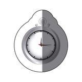 sticker realistc silver stopwatch graphic Stock Image
