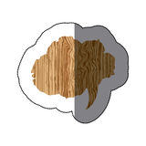 sticker realistc wooden texture cloud dialog callout Royalty Free Stock Image