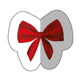 Sticker realistic cute red ribbon with bow. Illustration Royalty Free Stock Images