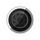 sticker realistic silhouette color with closed shutter analog camera lens Royalty Free Stock Photos