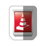 sticker rectangle button with striped traffic cone with shading Stock Images