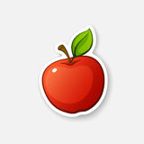 Sticker red apple with stem. Vector illustration. Red apple with stem and leaf. Healthy vegetarian food. Cartoon sticker in comics style with contour. Decoration vector illustration