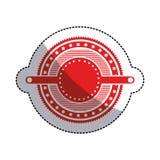 Sticker red circular art deco emblem with stars. Vector illustration Royalty Free Stock Photos