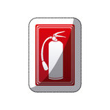 Sticker red color signal silhouette fire extinguisher icon Royalty Free Stock Photos