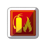 Sticker red color signal silhouette fire flame and extinguisher icon Royalty Free Stock Image