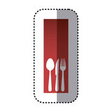 sticker red rectangle banner frame with silhouettes cutlery kitchen elements Royalty Free Stock Photography