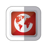sticker red square button with silhouette globe earth world map Stock Images