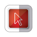 sticker red square button with silhouette pixelated cursor arrow Royalty Free Stock Images