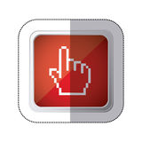 Sticker red square button with silhouette pixelated hand pointing up. Illustration Royalty Free Stock Image