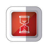 Sticker red square button with silhouette pixelated Hourglass pc. Illustration Stock Photos