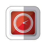 sticker red square button with silhouette watch time device Royalty Free Stock Image