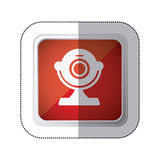 sticker red square button with silhouette webcam computer device Royalty Free Stock Photo