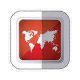 sticker red square button with silhouette world map Stock Images