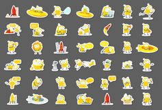 Sticker robots big set character. Yellow color version. Search, ufo and others. Collection illustration. Sticker robots big set character. Yellow color version vector illustration