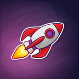 Sticker of rocket space ship flying on the space background. Vector illustration. Rocket space ship with a flame from a turbine flying on the space background Royalty Free Stock Photo