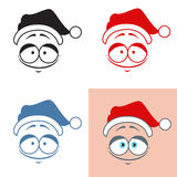 Sticker Santa Claus kind smile  Good  Emotions Vector set Royalty Free Stock Photo