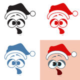 Sticker Santa Claus surprise. Opening the mouth. Emotions. Vecto Stock Images