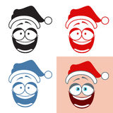 Sticker Santa Smiley  Laugh  Positive emotions. Vector set Royalty Free Stock Images