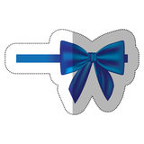 Sticker satin blue ribbon and bow wrapping Stock Image