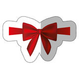 Sticker satin red ribbon and bow wrapping. Illustration Stock Photos
