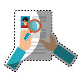 Sticker search with loupe in woman file info with curriculum vitae sheet. Vector illustration Royalty Free Stock Images