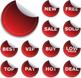Sticker Set. Web 2.0 Red Sticker for New Productions Royalty Free Stock Images