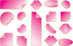 Sticker set. Pink sticker set. Vector will be aditional Stock Photography