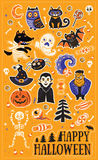 Sticker set with cartoon characters and elements for Halloween vector illustration