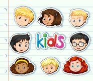 Sticker set with children faces. Illustration Royalty Free Stock Photos