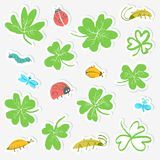 Sticker set with clover leaves and insects. Collection with cute. Bugs, ladybirds, dragonfly, caterpillar. Vector illustration in doodle style Stock Illustration