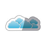 Sticker set collection clouds tridimensional in cumulus shape. Illustration Royalty Free Stock Photos